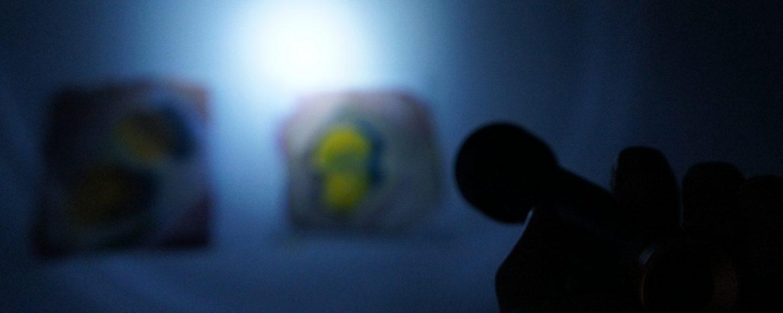 Ficklampa som lyser upp två målningar på vägg i ett mörkt rum.