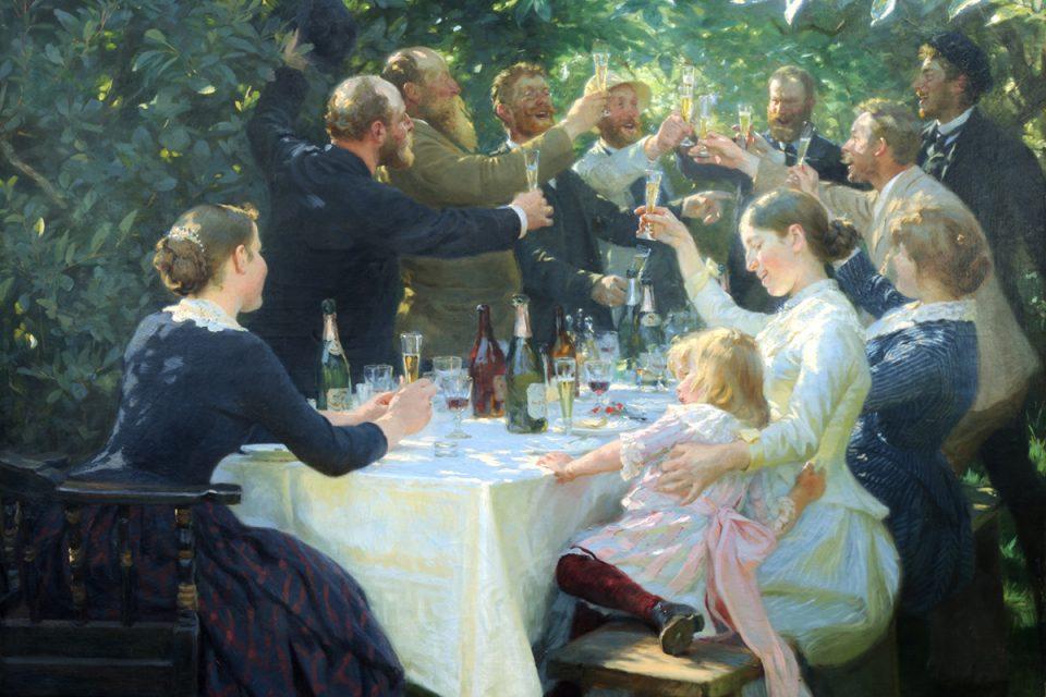 Målning av ett festligt sällskap som skålar i champagne i en berså.