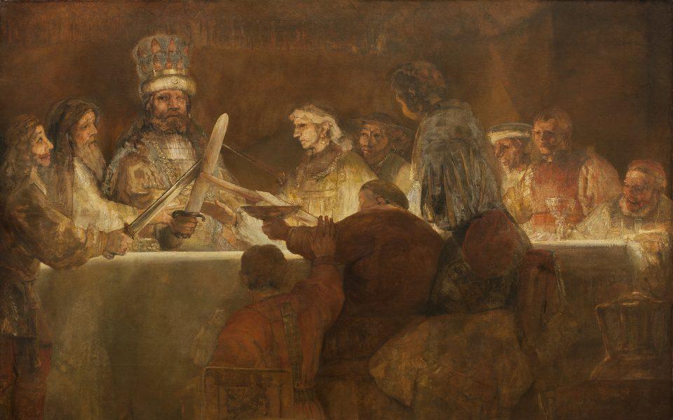 Målning i bruna nyanser av en grupp personer runt ett bord. Några höjer sina svärd mot ledaren i krona.