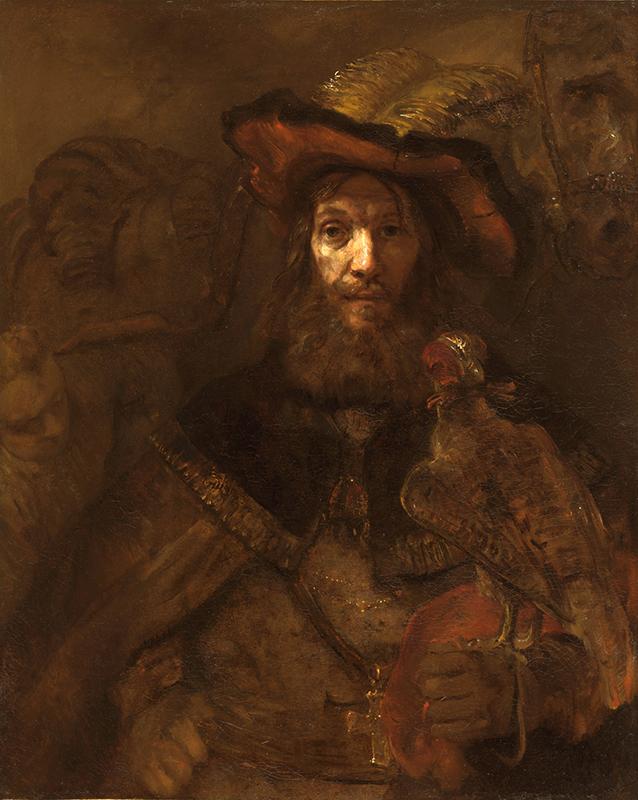 Målning i bruna nyanser av en riddare i fjäderprydd hatt med en jaktfalk på armen.