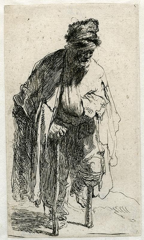 Etsning i svartvit av en enbent tiggare med krycka.