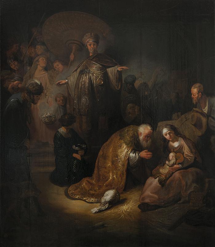 Målning i mörka toner av de tre vise männen som uppvaktar det nyfödda Jesusbarnet i ett enkelt stall.