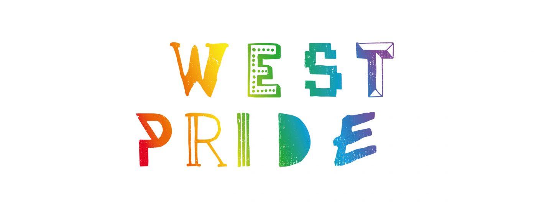 Logga för West Pride mot vit bakgrund.