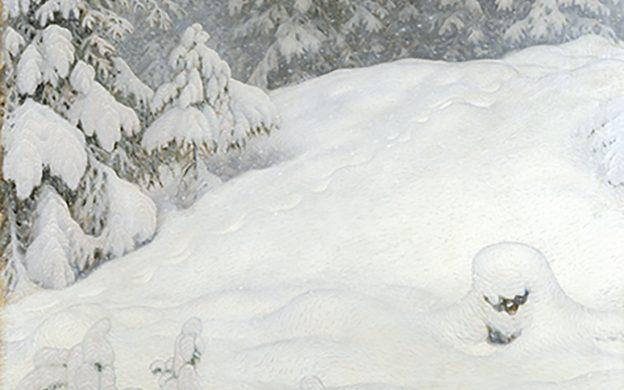 Målning av vinterlandskap med snötäckta granar