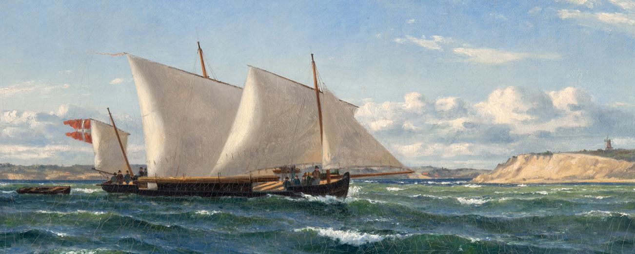 Oljemålning av kanonbåt på hav med blå himmel