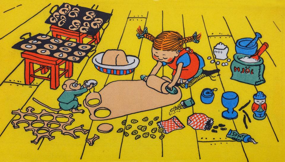 Illustration av Pippi Långstrump som bakar pepparkakor.